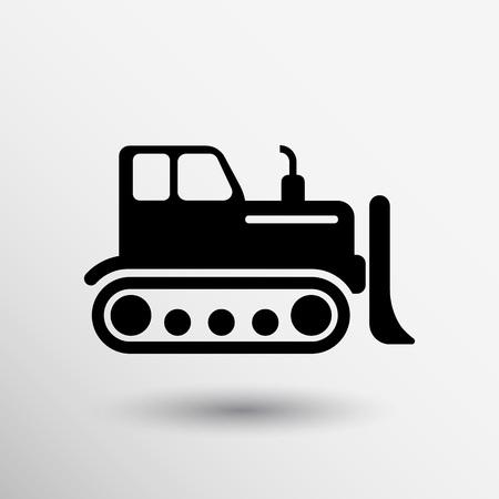 tractor sign: Crawler Dozer tractor icon vector button logo symbol concept.