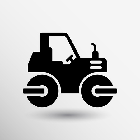 cartoon tractor: Rammer Major Construction Rink Asphalt icon vector button logo symbol concept.