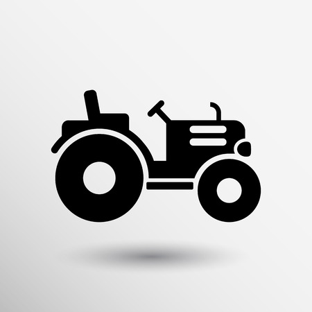 tractor in field: Tractor icon vector button logo symbol concept. Illustration