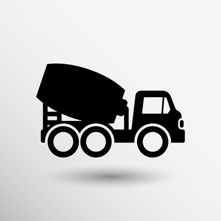 camion minero: hormig�n mezclador icono del bot�n del vector del s�mbolo del logotipo concepto. Vectores