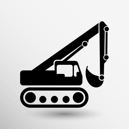 excavator icon vector button logo symbol concept. Logo