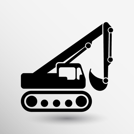 excavator icon vector button logo symbol concept. Illustration