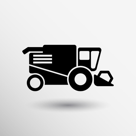 agriculture industry: Combine harvester icon vector button logo symbol concept. Illustration