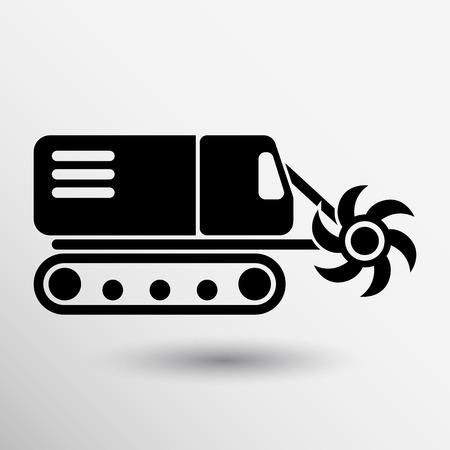 mine data: Machine digging cave icon vector button logo symbol concept. Illustration