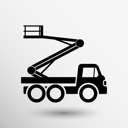 montacargas: Máquinas de construcción icono del vector logotipo del botón de símbolo de concepto.