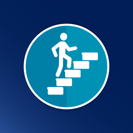 man on stairs icon vector button logo symbol concept.