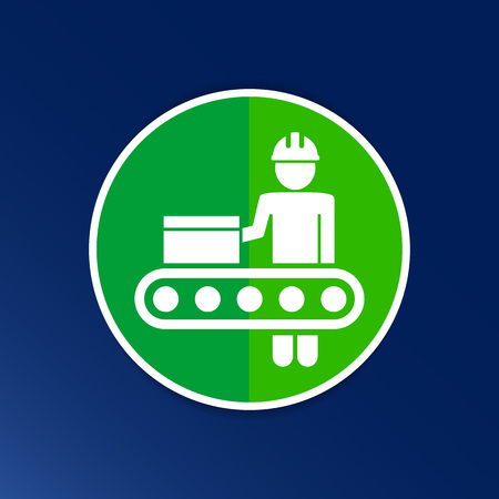 operation: Engineering workshop Industrial operation icon vector button logo symbol concept.