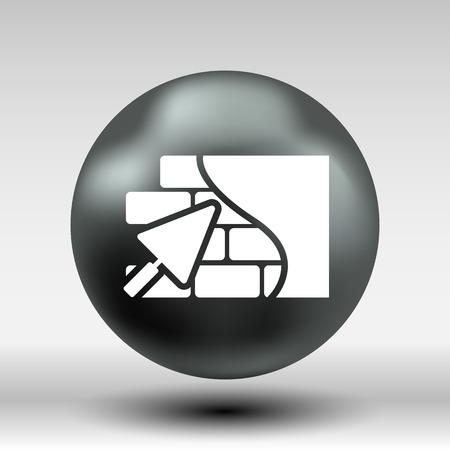 plasterer: Brick wall trowel icon button logo symbol concept.