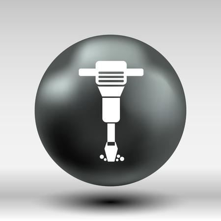 presslufthammer: Presslufthammer gerundet Pl�tze Taste Logosymbol Konzept Symbol Vektor-Taste.