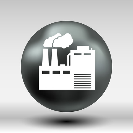 industrial factory: factory icon vector button logo symbol concept. Illustration