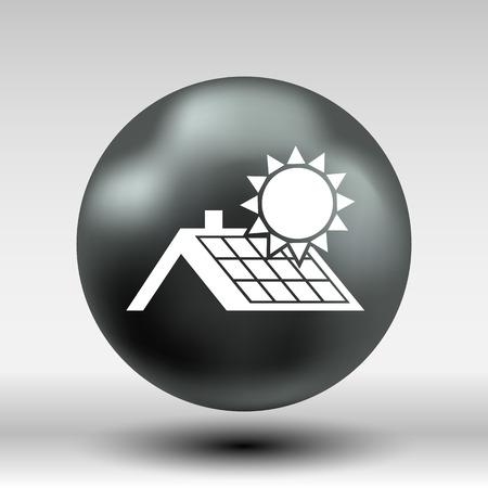 solar panel roof: solar panels roof icon vector button logo symbol concept. Illustration