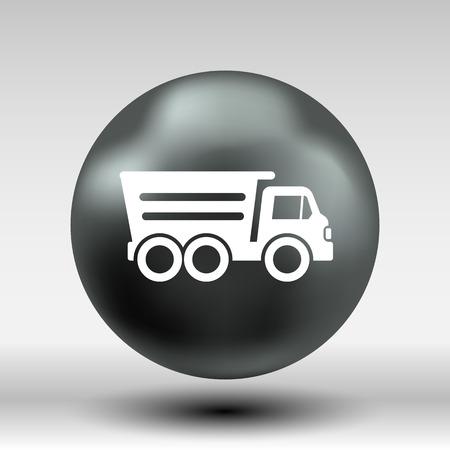 tipper: tipper truck building  icon vector button logo symbol concept. Illustration