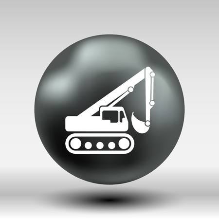 mini loader: excavator icon vector button logo symbol concept. Illustration