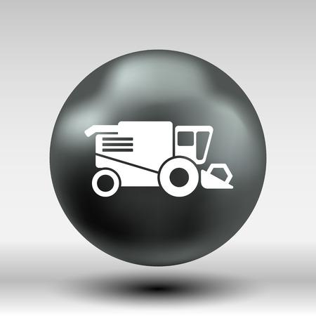 harvester: Combine harvester icon vector button logo symbol concept. Illustration