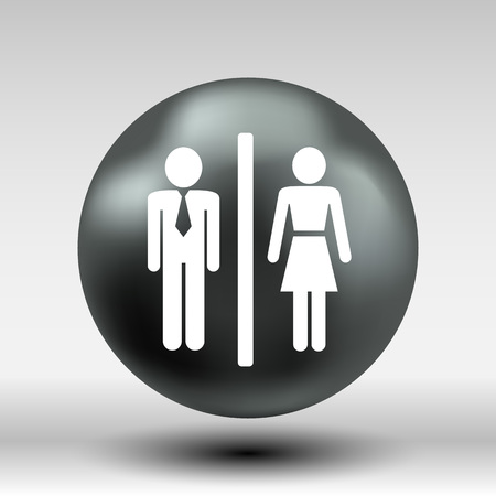 restroom sign: Man Woman restroom sign icon vector button logo symbol concept.