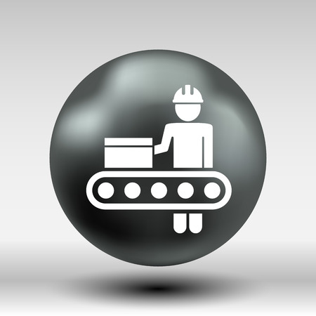 lathe: Engineering workshop Industrial operation icon vector button logo symbol concept.