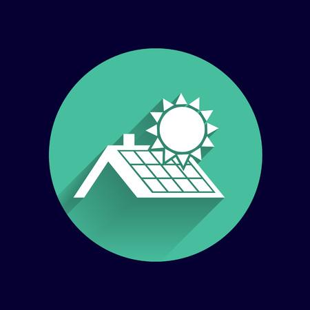 solar panels roof icon vector button logo symbol concept. Illusztráció