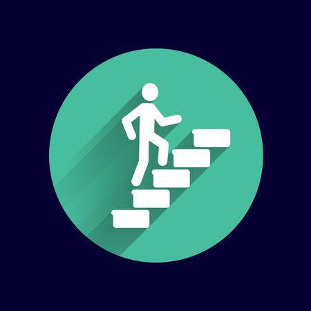 L'homme sur les escaliers icône vecteur logo du bouton symbole concept. Banque d'images - 45880258