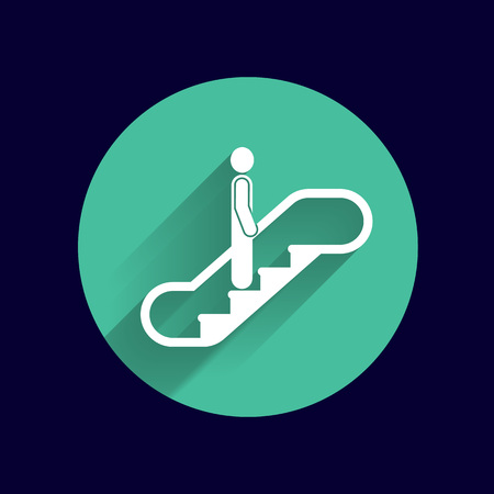 escalate: escalator icon vector button logo symbol concept. Illustration