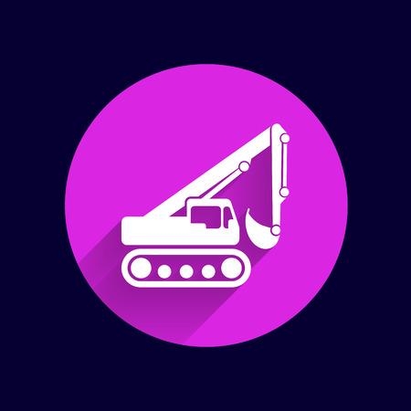mini loader: excavator icon vector button logo symbol concept. Illustration