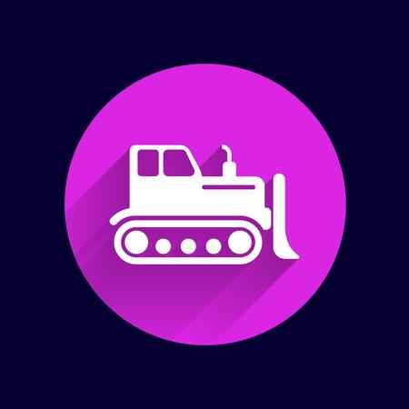 crawler tractor: Crawler Dozer tractor icon vector button logo symbol concept.