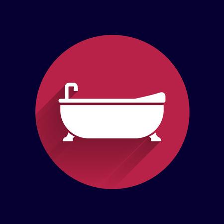 bathtub: Bathtub bath icon vector button logo symbol concept.