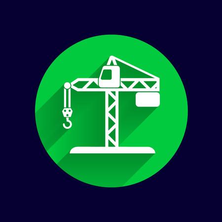 hook up: building crane icon vector button logo symbol concept.