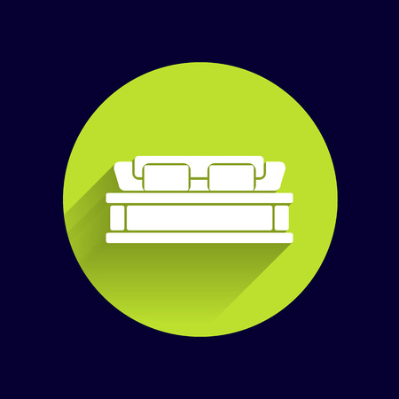 twin bed: double bed icon vector button logo symbol concept.