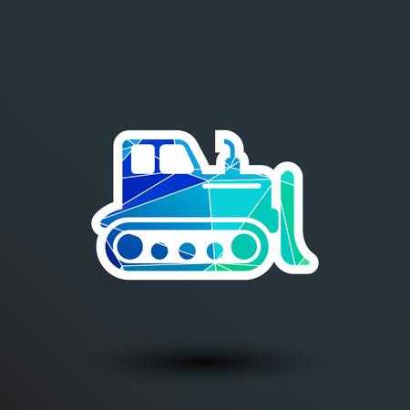 dozer: Crawler Dozer tractor icon vector button logo symbol concept.