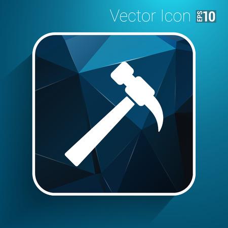 tooling: hammer icon vector button logo symbol concept.