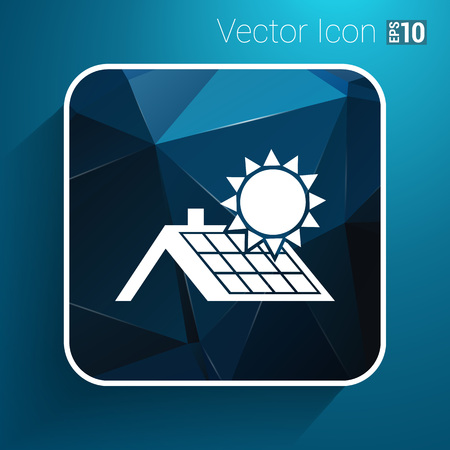 stock agency: solar panels roof icon vector button logo symbol concept. Illustration
