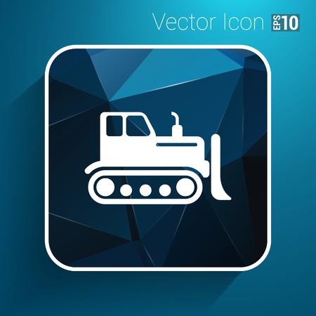 dredge to dig: Crawler Dozer tractor icon vector button logo symbol concept.