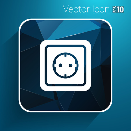 grounded plug: electric outlet  icon vector button logo symbol concept.
