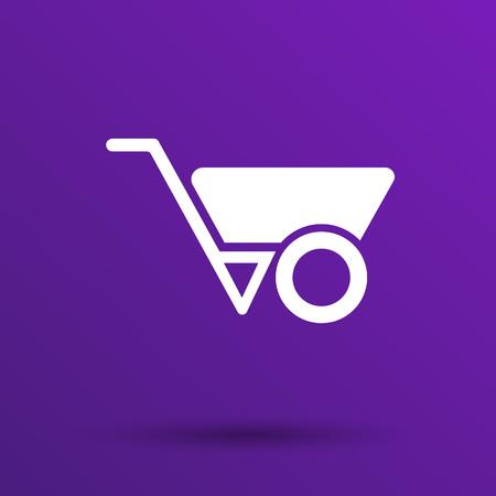 hauling: wheelbarrow icon vector button  symbol concept.