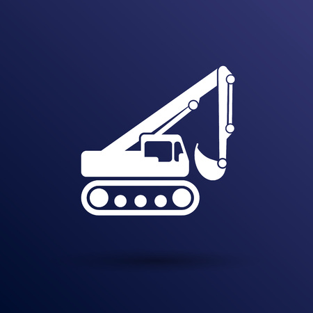 skid steer: excavator icon vector button  symbol concept. Illustration