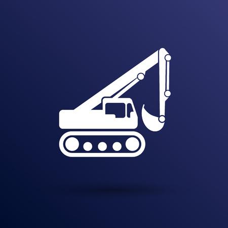 skid loader: excavator icon vector button  symbol concept. Illustration