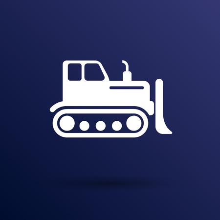dredge to dig: Crawler Dozer tractor icon vector button  symbol concept.