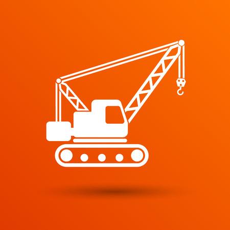 crawler: building crane icon vector button  symbol concept. Illustration