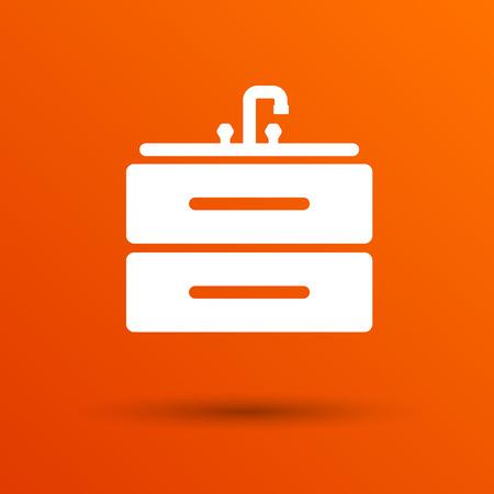 basin: Kitchenware sink basin icon vector button  symbol concept.