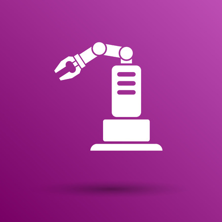 robot hand: robotic production icon vector button  symbol concept.