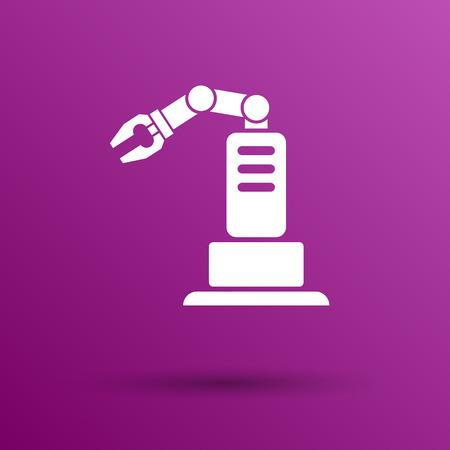 robot: zautomatyzowanej produkcji ikonę wektor przycisk symbol koncepcji.