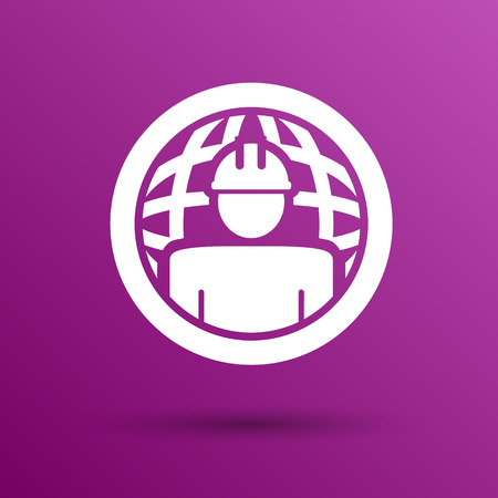workman: Workman Global search icon vector button  symbol concept. Illustration