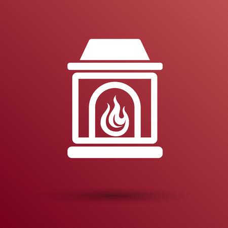 fireplace icon vector button  symbol concept.