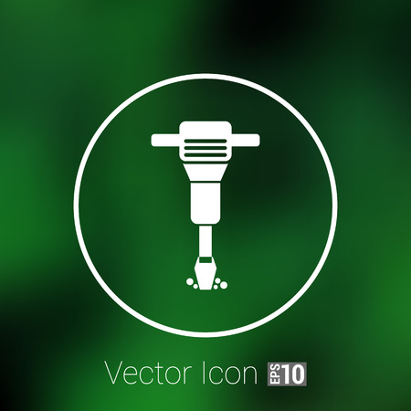 presslufthammer: jackhammer Rounded squares button icon vector button  symbol concept.