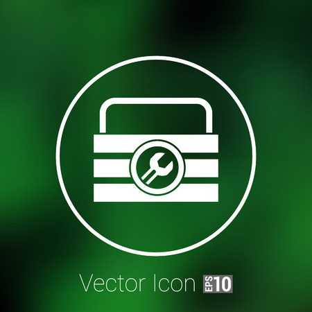 tooling: box of tools icon vector button  symbol concept. Illustration