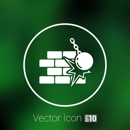 break: break the wall icon vector button  symbol. Illustration
