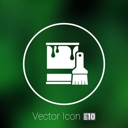 pintor: cubo de pintura de iconos de vectores s�mbolo de bot�n concepto.