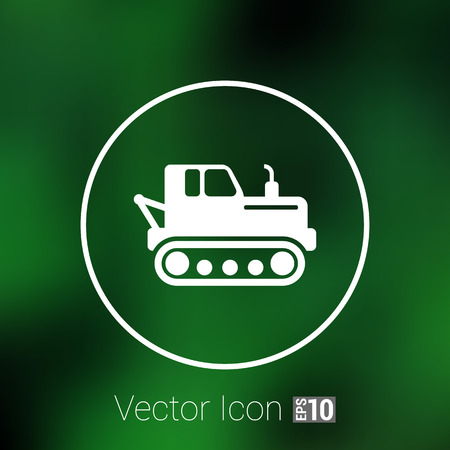 dredging tools: crawler tractor icon vector button  symbol concept.