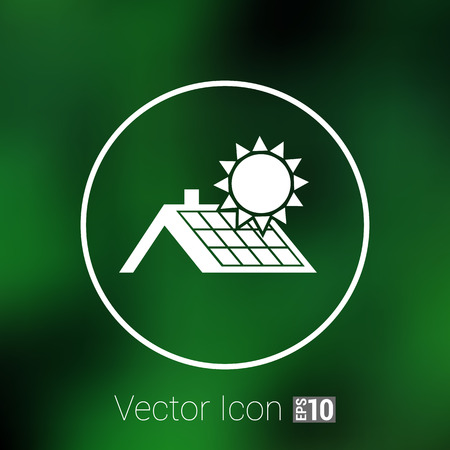 alternative energy: solar panels roof icon vector button  symbol concept.
