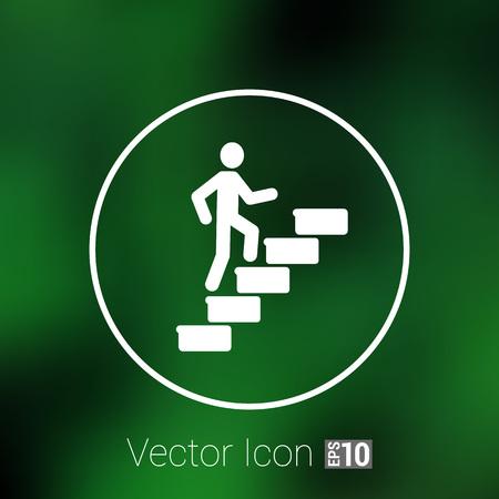 L'homme sur les escaliers icône vecteur symbole de bouton concept. Banque d'images - 47403945